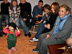 Anna Kournikova meets a young fan in Russia.