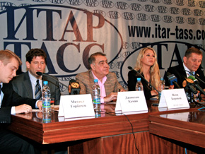 Anna Kournikova at a news conference following her AIDS awareness tour of Russia.