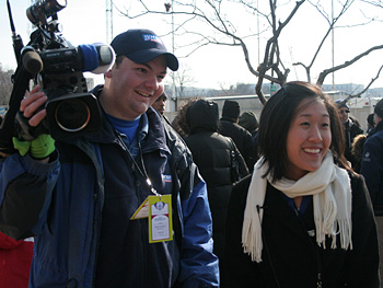 Woman and cameraman