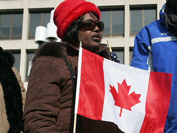 Woman with Canadian flag