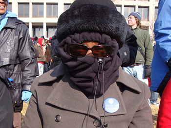 Woman bundled up