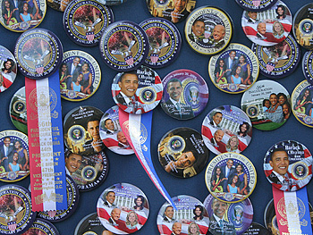 Wall of President Obama buttons