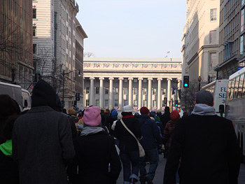 People walking to the inauguration