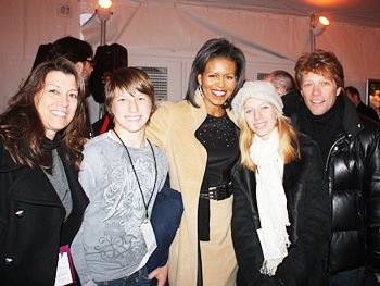Jon Bon Jovi and his family meet the first lady.