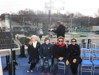 Jon Bon Jovi and his family sit in the executive seats.