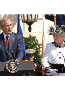 Queen Elizabeth and George W. Bush