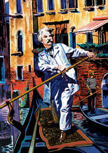Mark Twain in a Venetian gondola