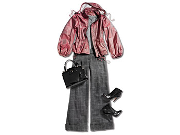 Pink anorak, tee, tweed wide-legged pants, patent leather ankle boots, and bag