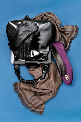 Leather gloves, frame purse, satin flats, and gauze wrap