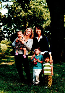 Victoria Marsh and Hiromi Awa with children