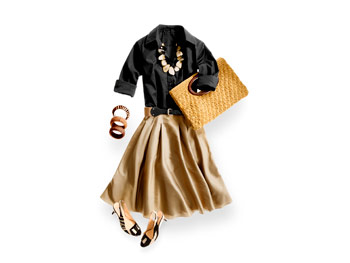 Black shirt and gold skirt