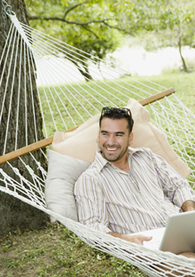 Man on a hammock