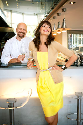 Model at The Showroom Restaurant in Cape Town with chef Bruce Robertson