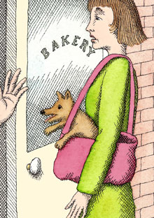 Woman with a dog in her bag
