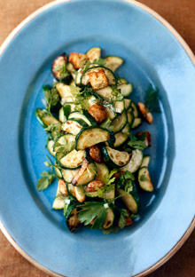 Zucchini tossed with roasted, spiced almonds, and zucchini bread croutons