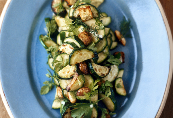 Zucchini with Roasted Almonds and Zucchini Bread Croutons side dish recipe