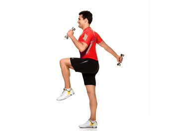 Tricep moves with knee raises