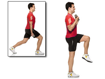 Lunges with bicep curls