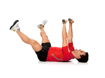 Chest presses with legs in air