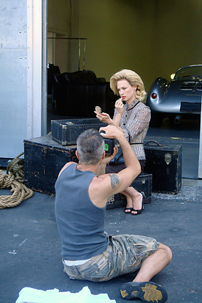 Behind the scenes, on set with January Jones.