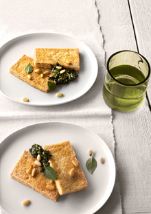 Sauteed Tofu with Tea Seed Oil and Basil Pistou