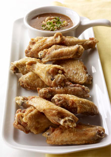 Peanut-Oil-Fried Chicken Wings with Spicy Peanut-Apricot Dipping Sauce