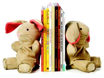Leather bunny bookends :  home baby toddler accessories