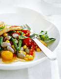 Halloumi with Summer Vegetable Ragout