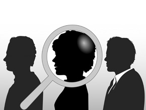 Line of people with magnifying glass on one woman