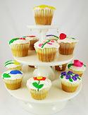 Artful cupcakes on display