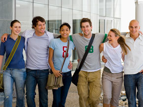 Group of college students laughing together