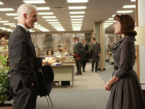 Peggy Olsen and Roger Sterling in Mad Men