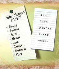 List of what matters most