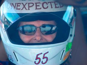 Jackie Corwin behind the wheel of her race car