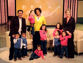 Jon and Kate Gosselin and their eight children visit The Oprah Show in 2008.