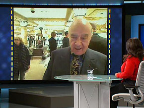 Mohamed al-Fayed on Skype from Harrods in London