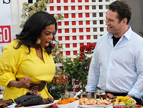 Adam Perry Lang and Oprah host a barbecue block party.