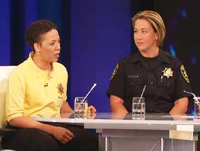 Police officer Allison Jacobs and police specialist Lisa Campbell