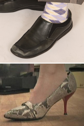 Amy's shoes, before and after