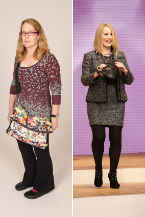 Beverly, before and after her shoe and handbag intervention