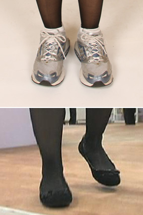 Julie's shoes, before and after