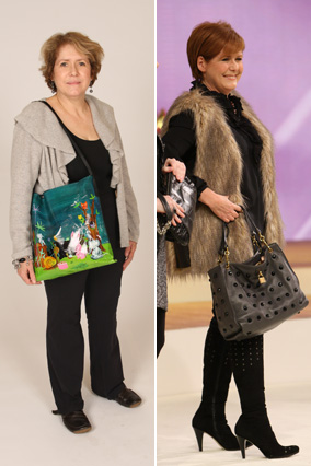 Karen, before and after her shoe and handbag intervention