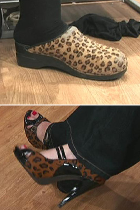 Kathleen's shoes, before and after