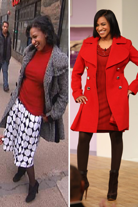 Samar, before and after her shoe and handbag intervention