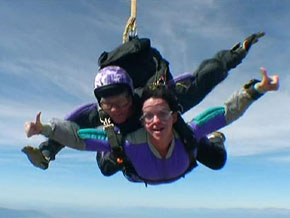 Yanick jumps out of a plane.
