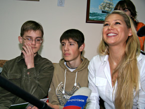 Anna Kournikova attends a ribbon-cutting ceremony at a youth center in Russia.