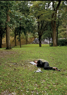 Woman sleeping in the park