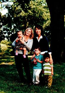 Victoria Marsh and Hiromi Awa with children
